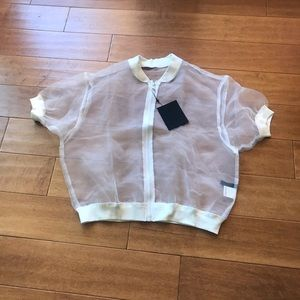 GLAD NEWS Sheer Bomber Style Jacket